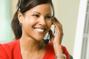 Telemarketer Talking to Customer